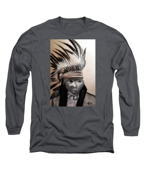 Arapaho Man With Gun. 1898. Wyoming Long Sleeve T-Shirt by Ayasha Loya