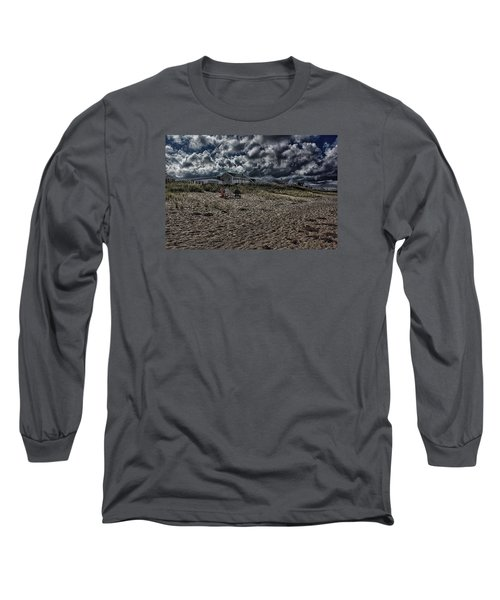 Long Sleeve T-Shirt featuring the photograph Nature Playing To An Empty Beach by Constantine Gregory