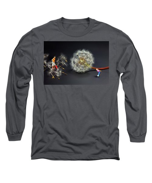 Long Sleeve T-Shirt featuring the painting Naughty Girl Playing Dandelion Little People Big World by Paul Ge