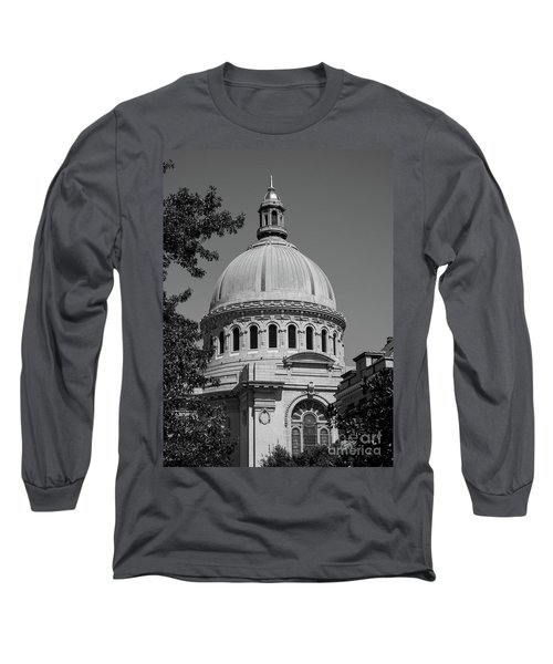 Naval Academy Chapel - Black And White Long Sleeve T-Shirt