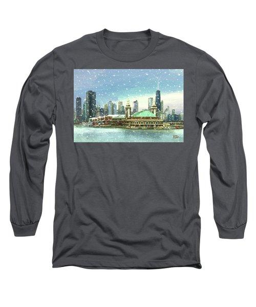 Navy Pier Winter Snow Long Sleeve T-Shirt