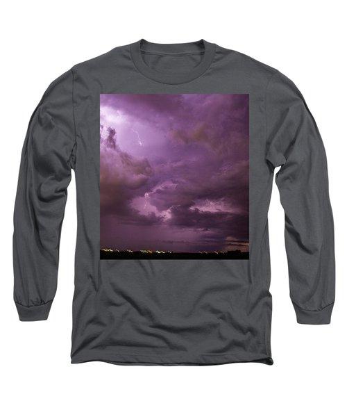 Nebraska Night Thunderstorm Beast 001 Long Sleeve T-Shirt