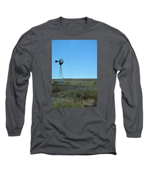 Long Sleeve T-Shirt featuring the photograph Nebraska Windmill by Mark McReynolds