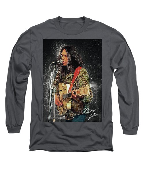 Neil Young Long Sleeve T-Shirt by Taylan Apukovska