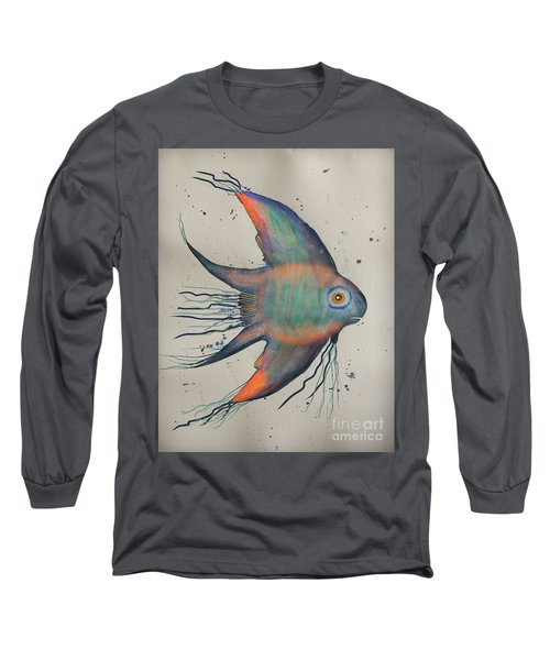 Long Sleeve T-Shirt featuring the mixed media Neon Blue Fish by Walt Foegelle