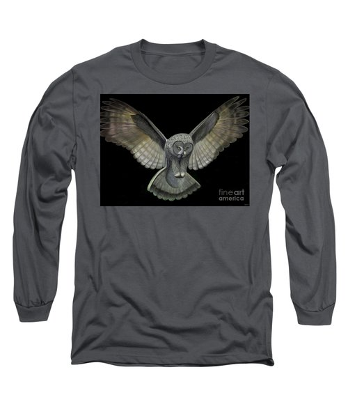 Long Sleeve T-Shirt featuring the digital art Neon Owl by Rand Herron