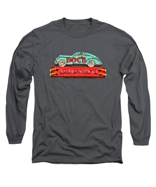 Neon Sign Docs Austin Texas Tee Long Sleeve T-Shirt by Edward Fielding