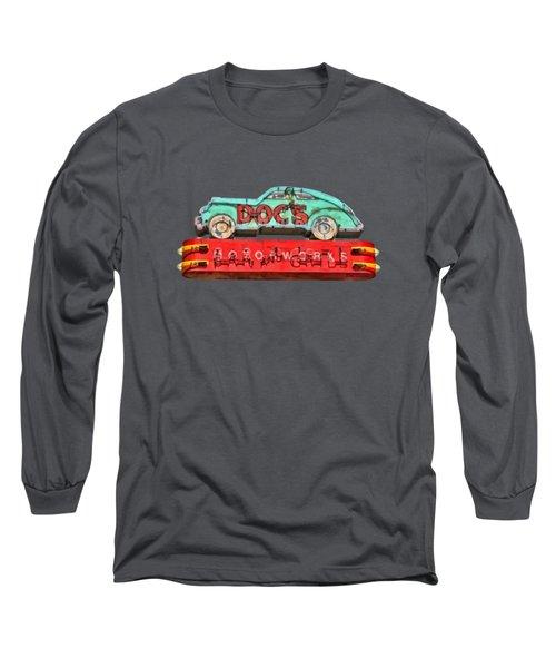 Neon Sign Docs Austin Texas Tee Long Sleeve T-Shirt by Edward Fielding