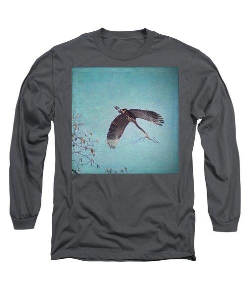 Nesting Heron In Flight Long Sleeve T-Shirt