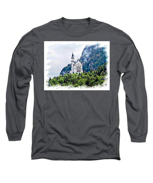 Long Sleeve T-Shirt featuring the photograph Neuschwanstein Castle With A Glider by Joseph Hendrix