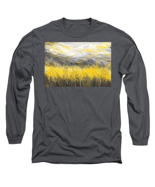 Neutral Sun - Yellow And Gray Art Long Sleeve T-Shirt
