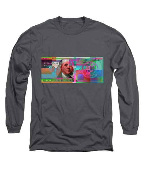 New 2009 Series Pop Art Colorized Us One Hundred Dollar Bill  No. 3 Long Sleeve T-Shirt by Serge Averbukh