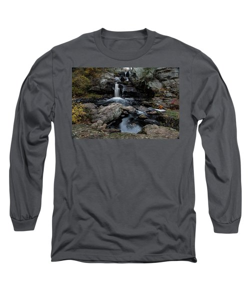New England Waterfall In Autumn Long Sleeve T-Shirt
