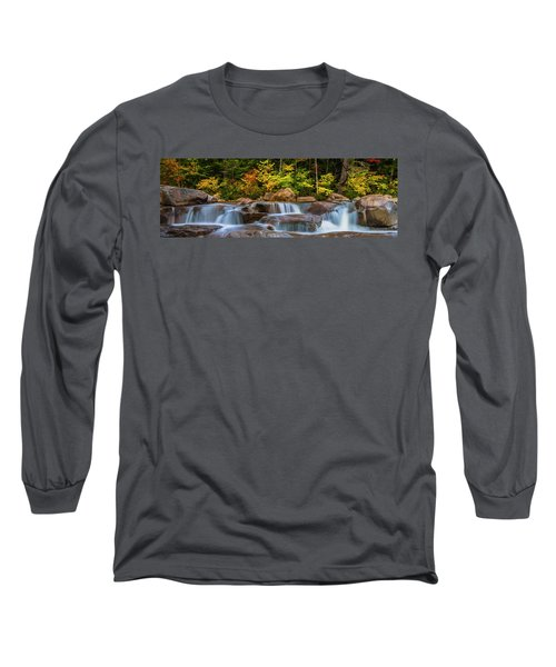 New Hampshire White Mountains Swift River Waterfall In Autumn With Fall Foliage Long Sleeve T-Shirt