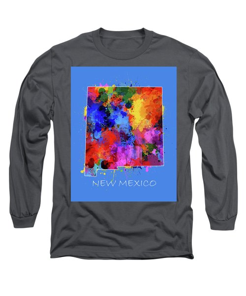 New Mexico Map Color Splatter 3 Long Sleeve T-Shirt