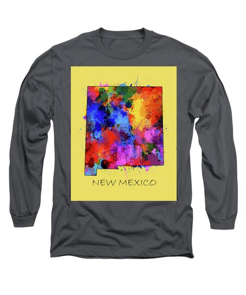 New Mexico Map Color Splatter 4 Long Sleeve T-Shirt