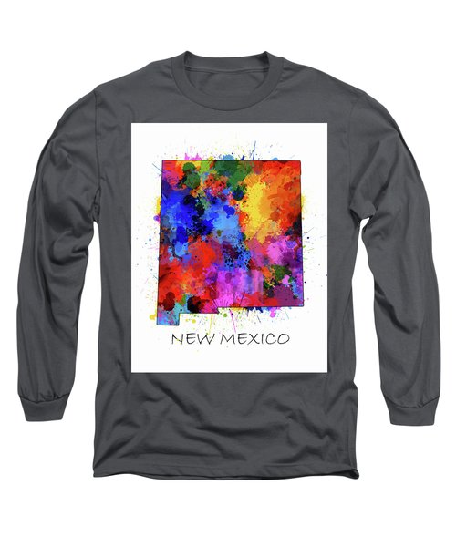New Mexico Map Color Splatter  Long Sleeve T-Shirt