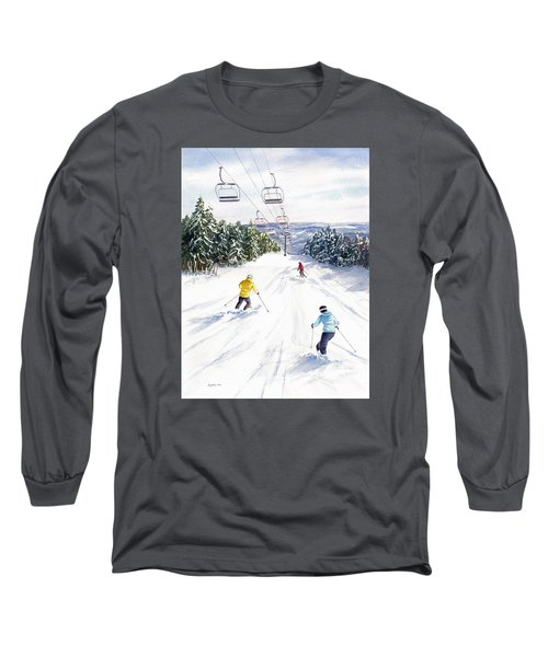 Long Sleeve T-Shirt featuring the painting New Snow by Vikki Bouffard