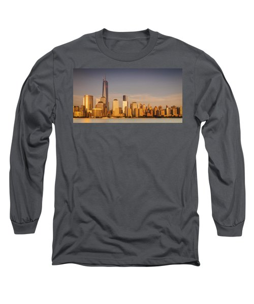 New World Trade Memorial Center And New York City Skyline Panorama Long Sleeve T-Shirt by Ranjay Mitra