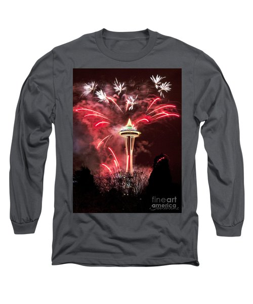 Long Sleeve T-Shirt featuring the photograph New Years At The Space Needle by Peter Simmons