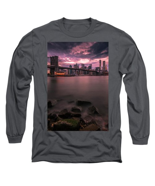 New York City Brooklyn Bridge Sunset Long Sleeve T-Shirt by Ranjay Mitra