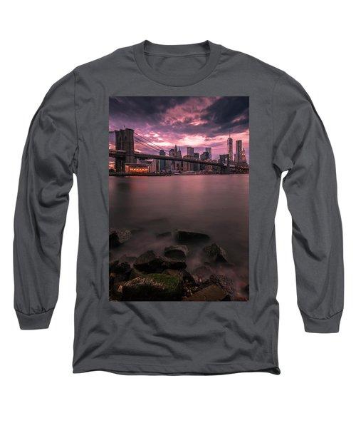 Long Sleeve T-Shirt featuring the photograph New York City Brooklyn Bridge Sunset by Ranjay Mitra