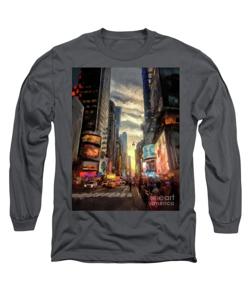 Long Sleeve T-Shirt featuring the photograph New York City Lights by Lois Bryan