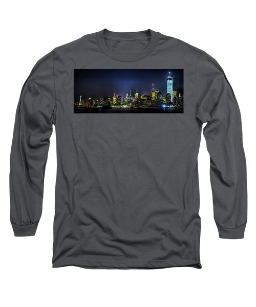 Long Sleeve T-Shirt featuring the photograph New York City Skyline by Theodore Jones