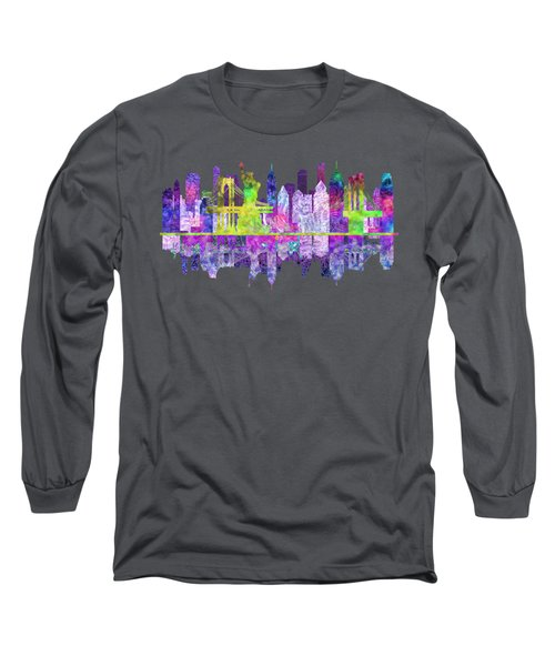 New York Skyline Glowing Long Sleeve T-Shirt by John Groves