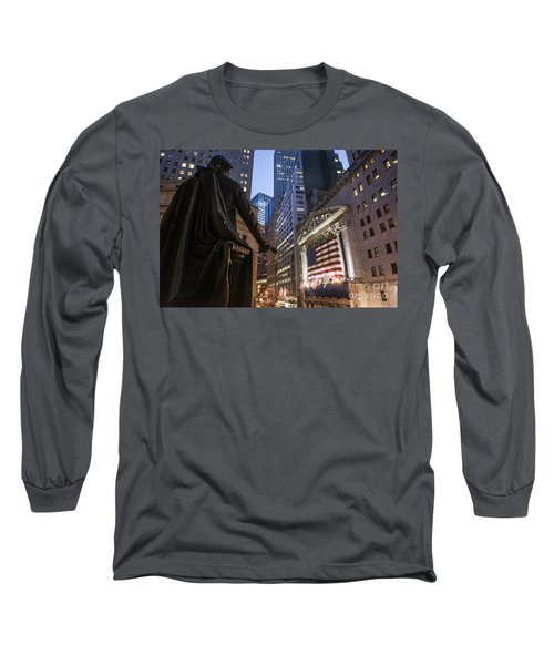 Long Sleeve T-Shirt featuring the photograph New York Wall Street by Juergen Held