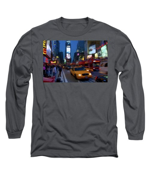 Long Sleeve T-Shirt featuring the painting New York Yellow Cab by David Dehner