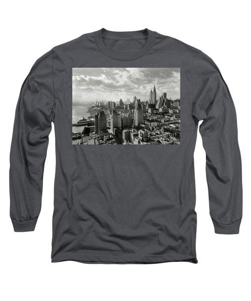 New Your City Skyline Long Sleeve T-Shirt by Jon Neidert