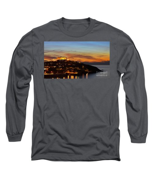 Newquay Harbor At Night Long Sleeve T-Shirt