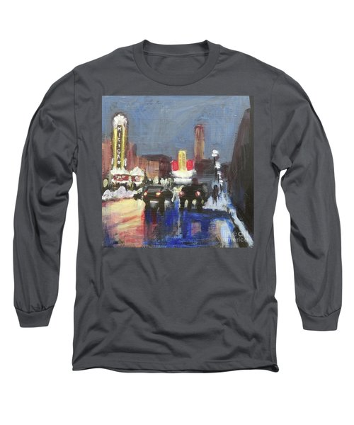 Night Around Michigan Theater Long Sleeve T-Shirt by Yoshiko Mishina