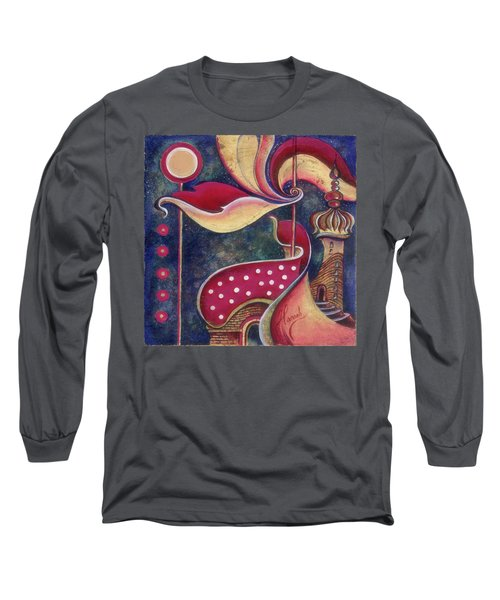 Long Sleeve T-Shirt featuring the painting Night In The City Of Gods by Anna Ewa Miarczynska