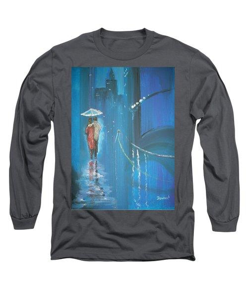 Long Sleeve T-Shirt featuring the painting Night Love Walk by Raymond Doward