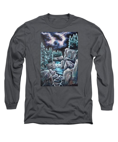 Long Sleeve T-Shirt featuring the painting Night Of Stars by Cheryl Pettigrew