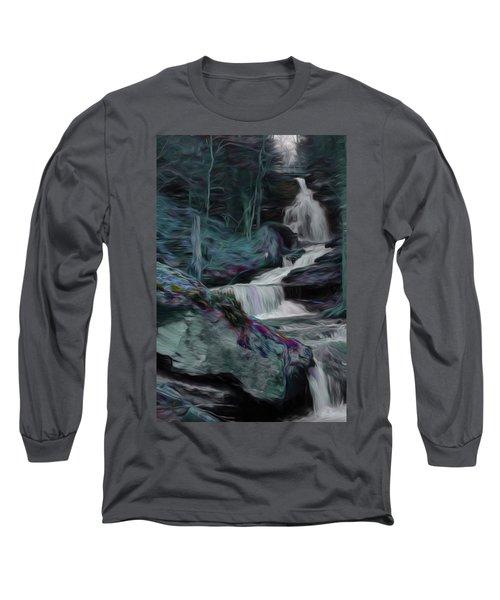 Night Rainbow Waterfall Long Sleeve T-Shirt