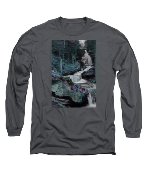 Night Rainbow Waterfall Long Sleeve T-Shirt