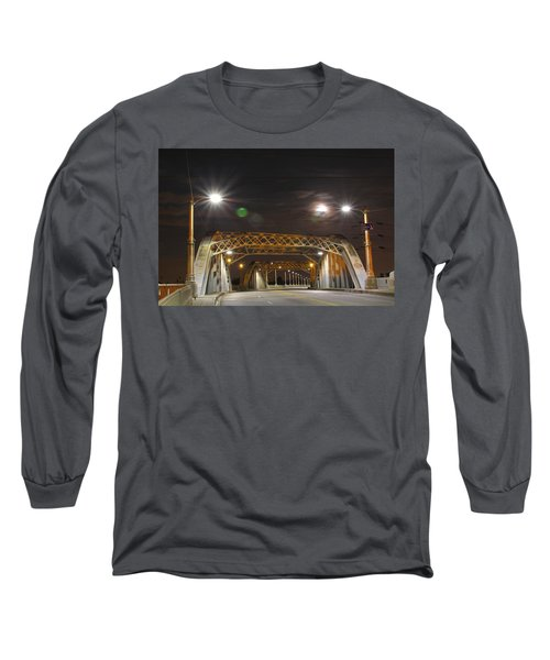 Night Shot Of The Los Angeles 6th Street Bridge And Supermoon #5 Long Sleeve T-Shirt