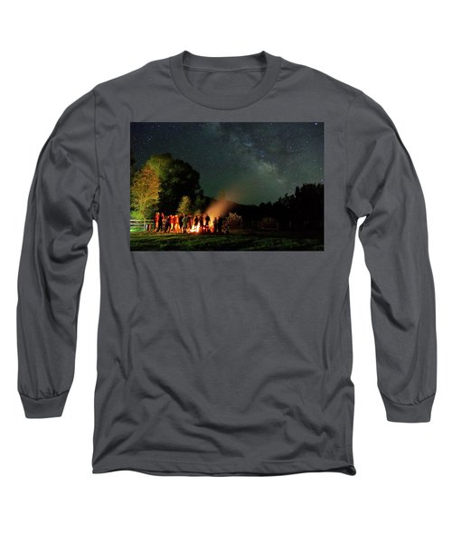 Night Sky Fire Long Sleeve T-Shirt by Matt Helm