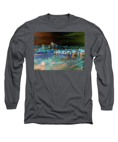Long Sleeve T-Shirt featuring the mixed media Night Sky Over Prague by Elizabeth Lock