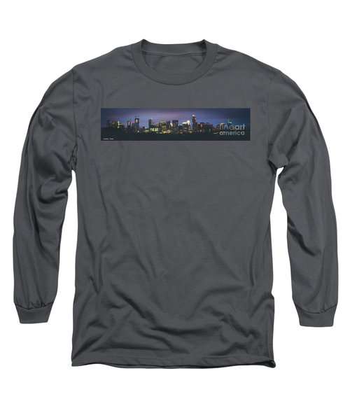 Night View Of Downtown Skyline In Winter Long Sleeve T-Shirt