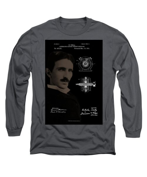 Nikola Tesla Patent Drawing Long Sleeve T-Shirt
