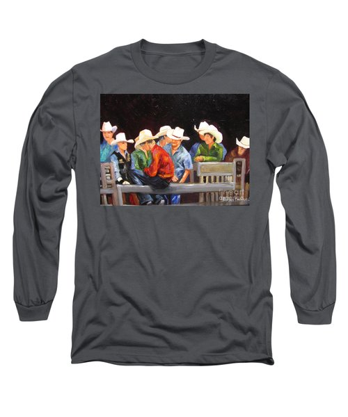 Nine Cowboys On A Fence Long Sleeve T-Shirt