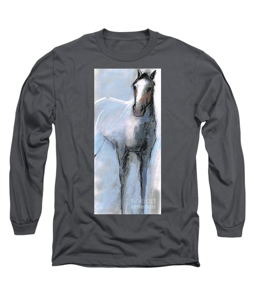 Long Sleeve T-Shirt featuring the drawing Nm Sketch Bw by Frances Marino