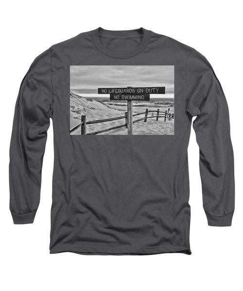 No Lifeguards On Duty Black And White Long Sleeve T-Shirt by Paul Ward