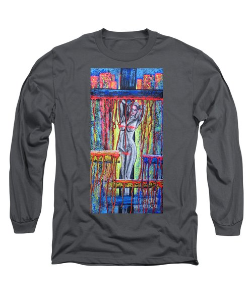 Long Sleeve T-Shirt featuring the painting No Name /crusifiction Maybe/ by Viktor Lazarev