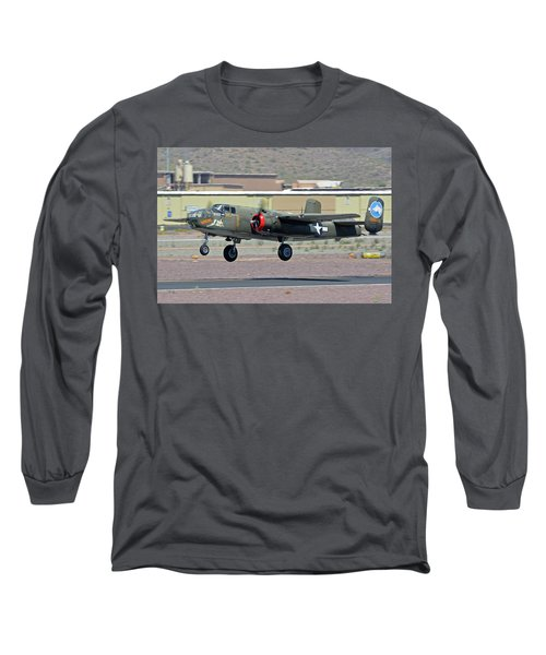 Long Sleeve T-Shirt featuring the photograph North American B-25j Mitchell Nl3476g Tondelayo Deer Valley Arizona April 13 2016 by Brian Lockett