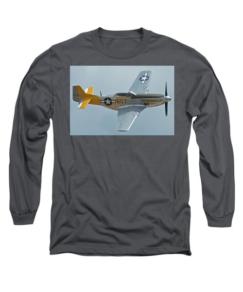 Long Sleeve T-Shirt featuring the photograph North American P-51d Mustang Nl5441v Dolly/spam Can Chino California April 30 2016 by Brian Lockett